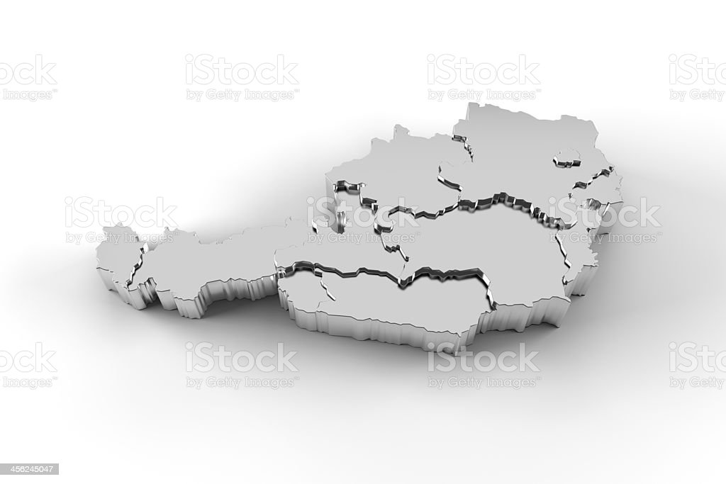 Austria map 3D silver with states stepwise and clipping path stock photo