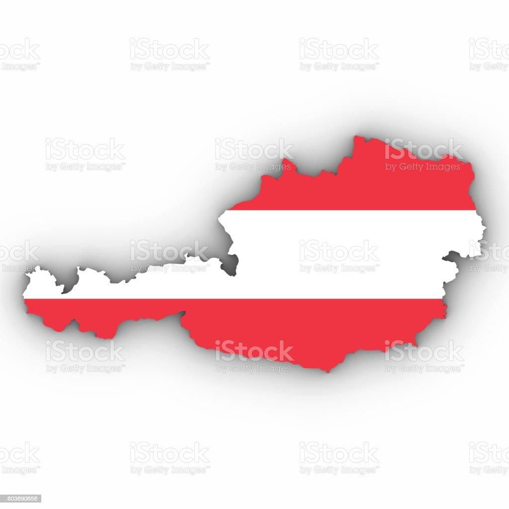 3d Karte Osterreich.Osterreich Karte Umriss Mit Osterreichischer Flagge Auf Weiss
