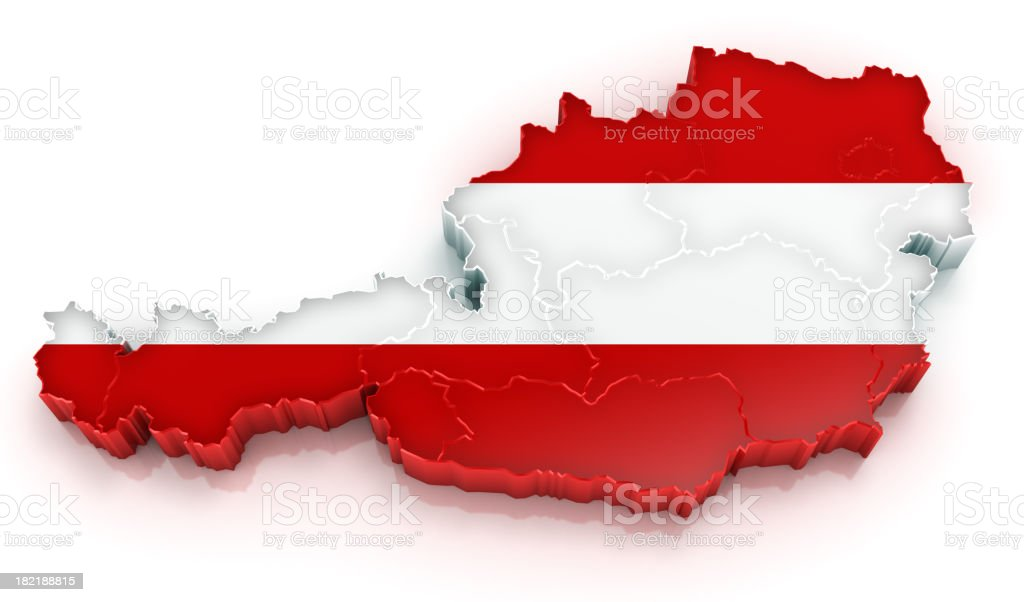 Austria map with flag royalty-free stock photo
