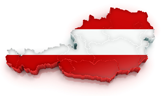3D map of Republic of Austria with flag and visible states.Digitally generated image.