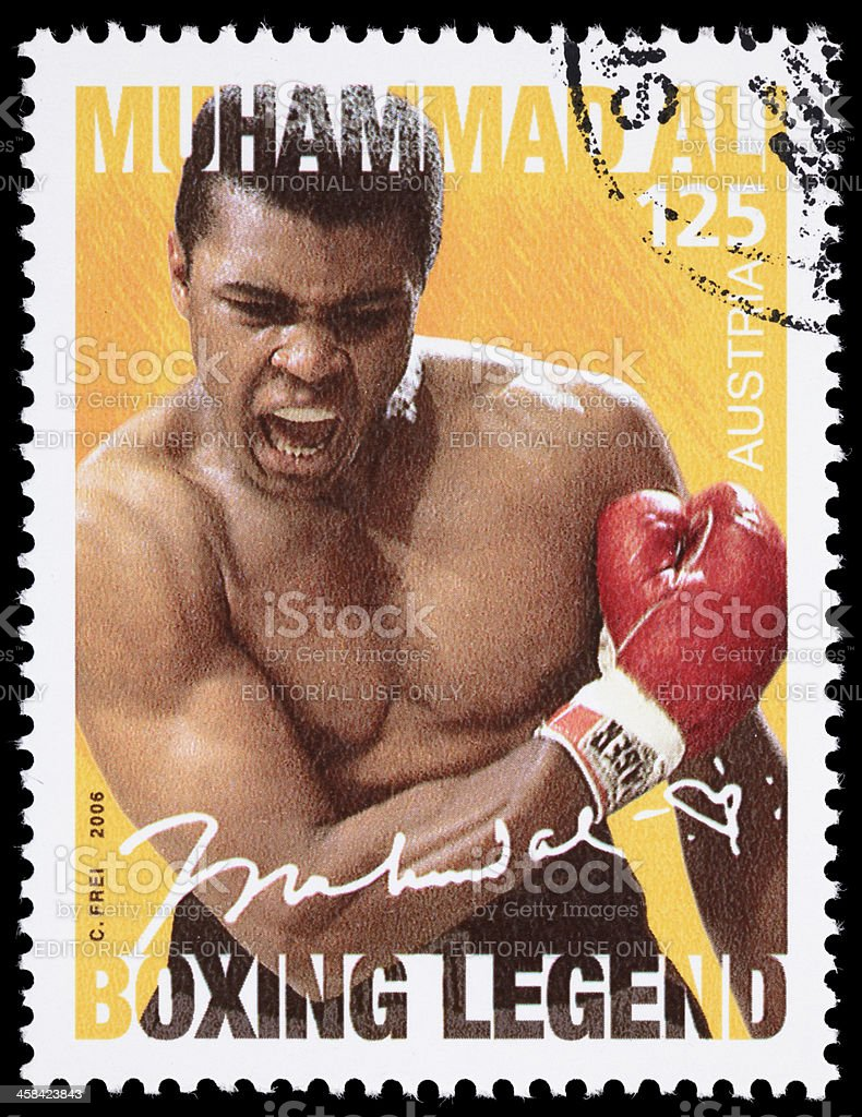 Austria Muhammad Ali boxing legend postage stamp royalty-free stock photo