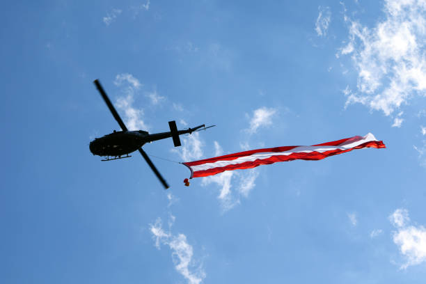 Austria on the helicopter stock photo