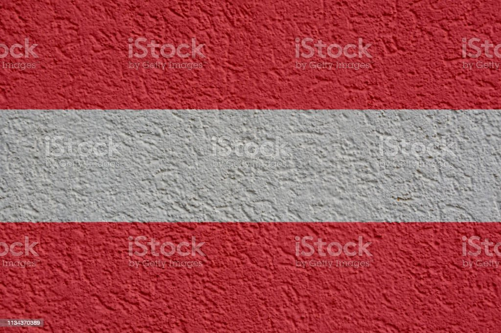 Austrian Flag Wall With Plaster, Background Texture