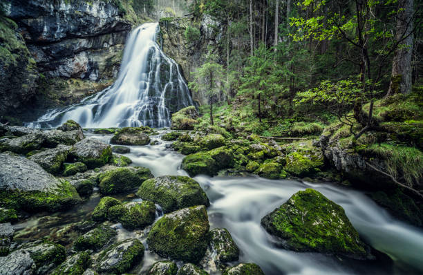 austria, salzburg, beautiful waterfall in golling - waterfall stock photos and pictures