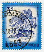 Austria stamps: Bishop's Cap Scenery, Salzburg,from the series 'Sights in Austria' illustration