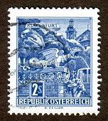 Austria stamps: Fountain statue painting of the lindwurm dragon illustration, Klagenfurt, Carinthia, Austria.