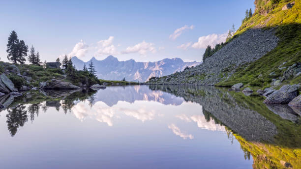 Autriche, Styrie, District de Liezen, Tauern, Découvre à Dachstein, lac Spiegelsee - Photo