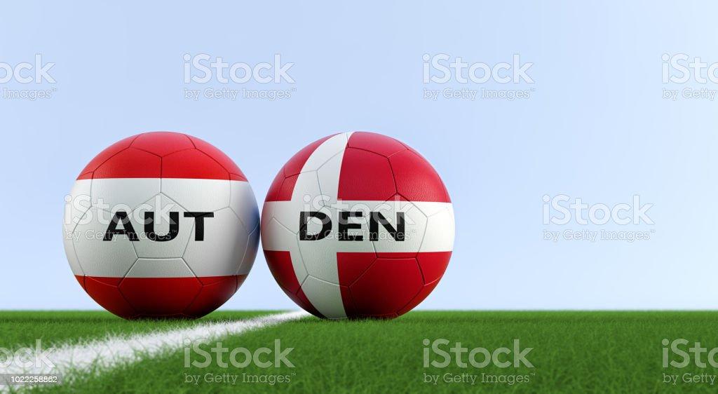 Austria vs Dinamarca partido de fútbol - balones de fútbol en Austria y  Dinamarca colores nacionales 66688817ab64f