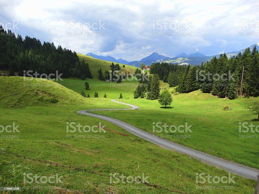 Austria Camine por carretera en la alp vista de prado foto de stock libre de derechos