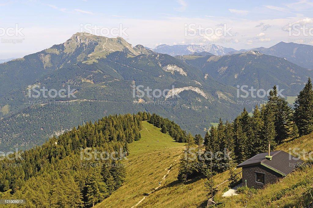 Austria Zwölferhorn View to Mountain Schafsberg St Gilgen stock photo