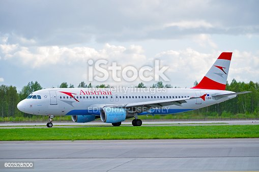 istock Austrian Airlines Airbus A320 airplane is riding on the runway 602328200