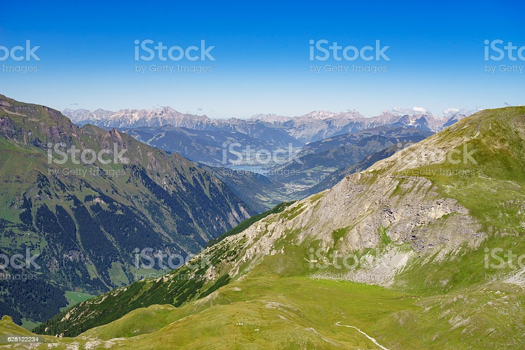 Austrian alps and Zell am See lake stock photo