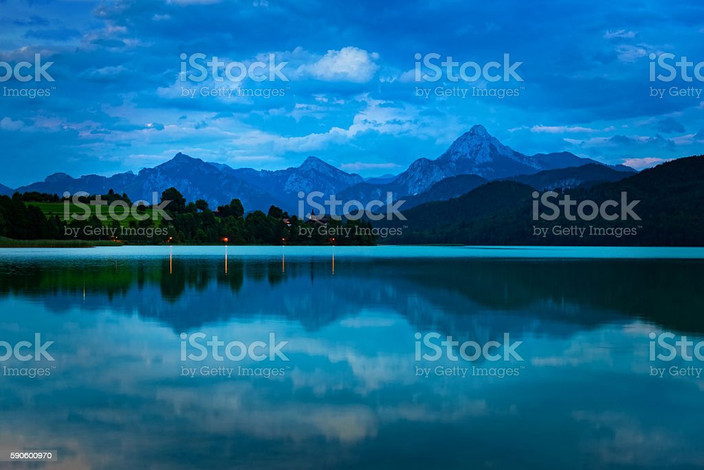 Austrian Alps at dusk stock photo