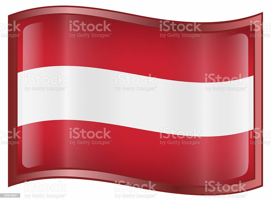 Austrian Flag icon, isolated on white background. royalty-free stock photo