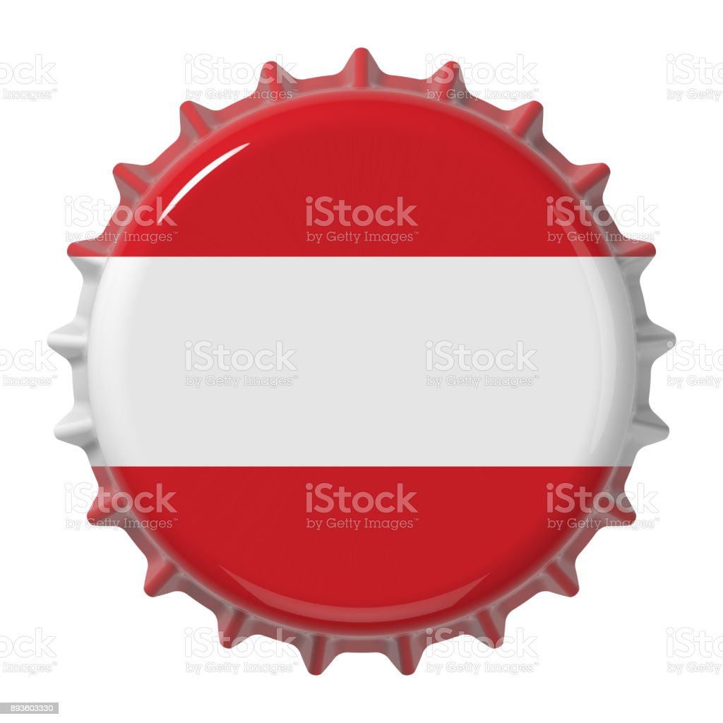 Austrian flag on bottle cap. 3D rendering stock photo