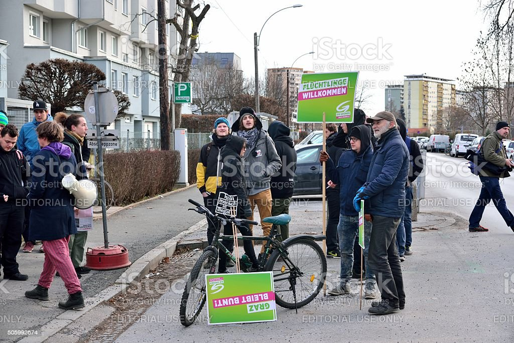 Austrian Green party demonstrating for 'refugees welcome' stock photo