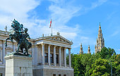 Classical architecture of the Austrian Parliament and City Hall in Vienna, Austria