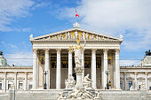 The Austrian Parliament building in Vienna, Austria