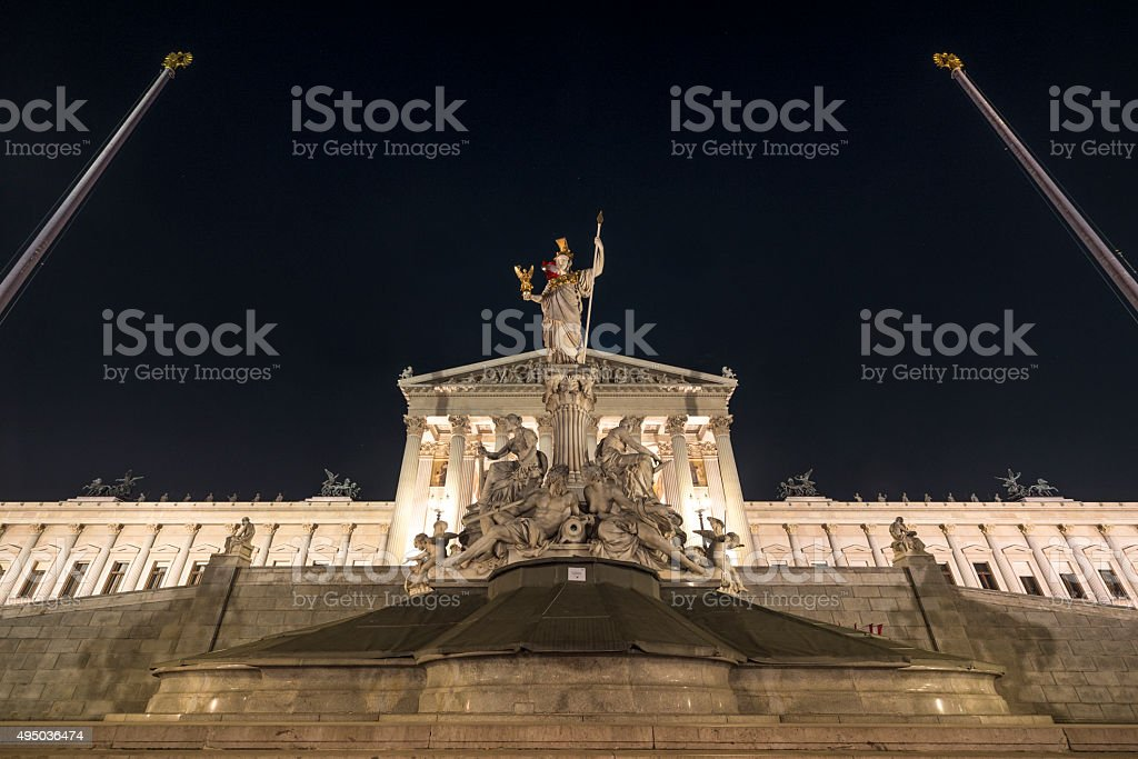 Austrian Parliament Building night autumn stock photo