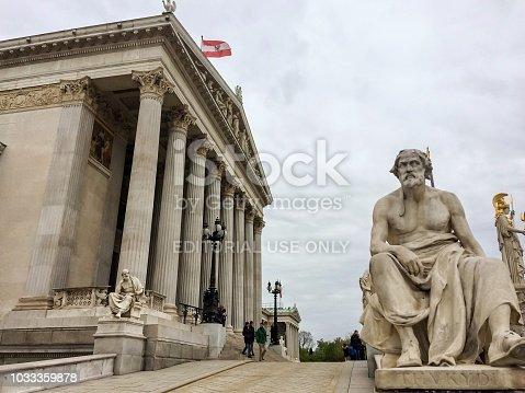 Austria, Vienna, 15/04/2017 Austrian parliament building, Austrian Parliament, cloudy weather, sculptures, work of architectural art, authorities