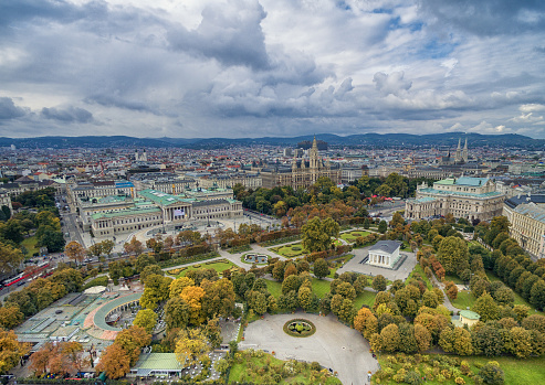 Austrian Parliament Building, Rathaus, Park, Burgtheater, Imperial Court Theatre. Vienna most popular sightseeing objects.