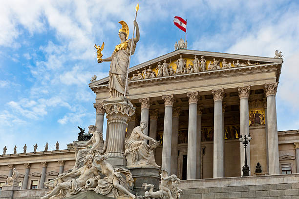 austrian parliament building, wien - vienna stock photos and pictures