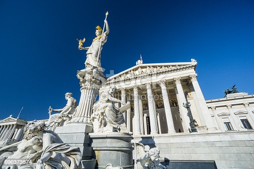 istock Austrian parliament with clear blue sky 696373574