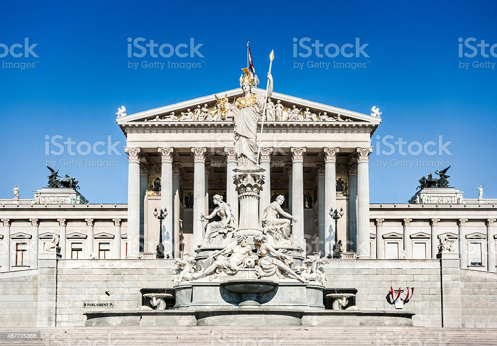 Austrian parliament with Pallas Athena statue, Vienna, Austria stock photo