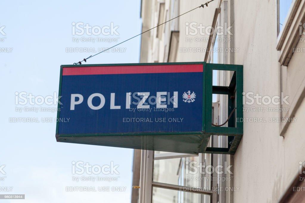 Austrian police sign stock photo