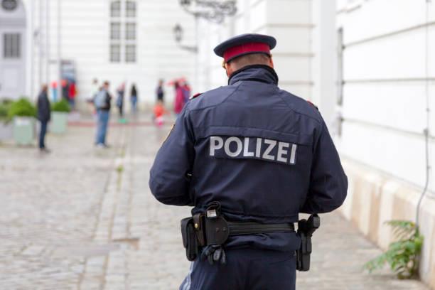 Austrian policeman in Vienna stock photo