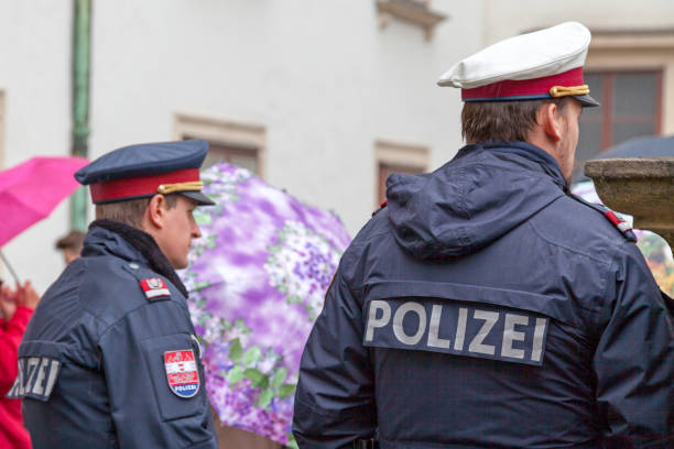 Austrian policemen stock photo