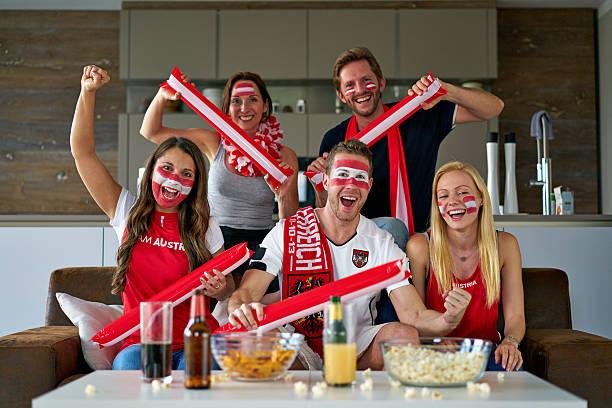 austrian soccer fans stock photo