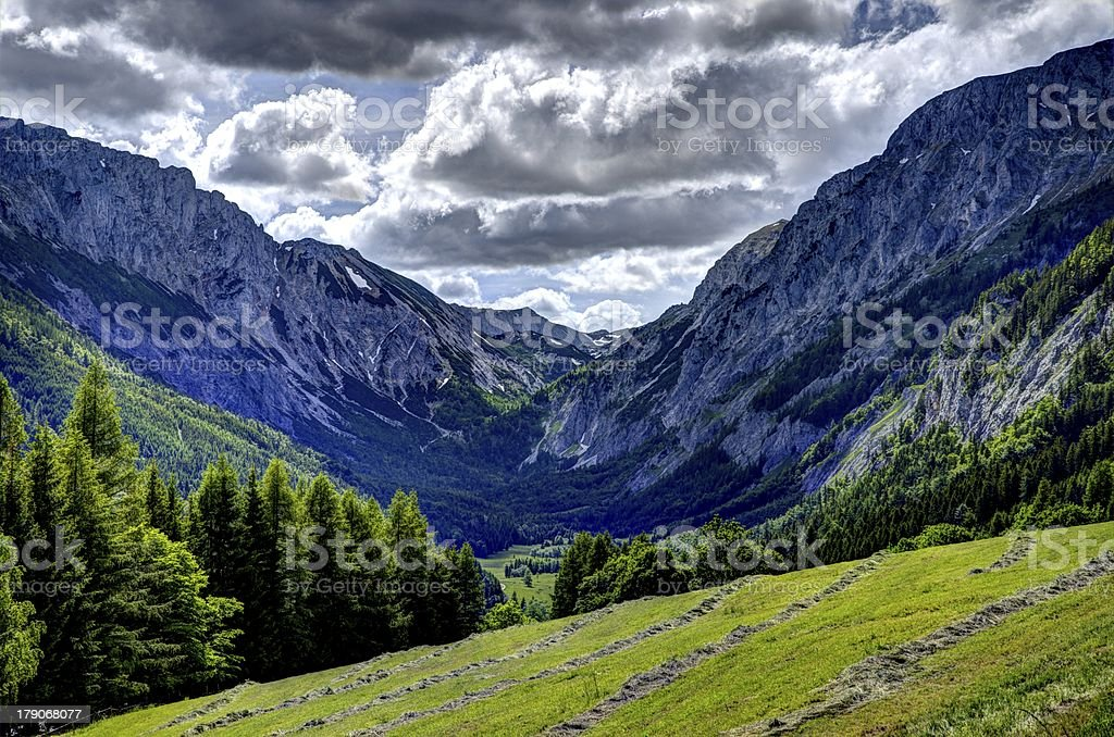 Austrian Valley with Stormclouds stock photo