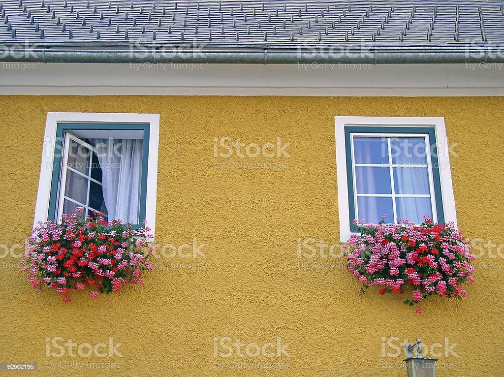 Austrian window boxes royalty-free stock photo