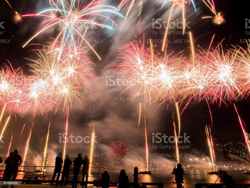Austrlia Day Fireworks Display stock photo