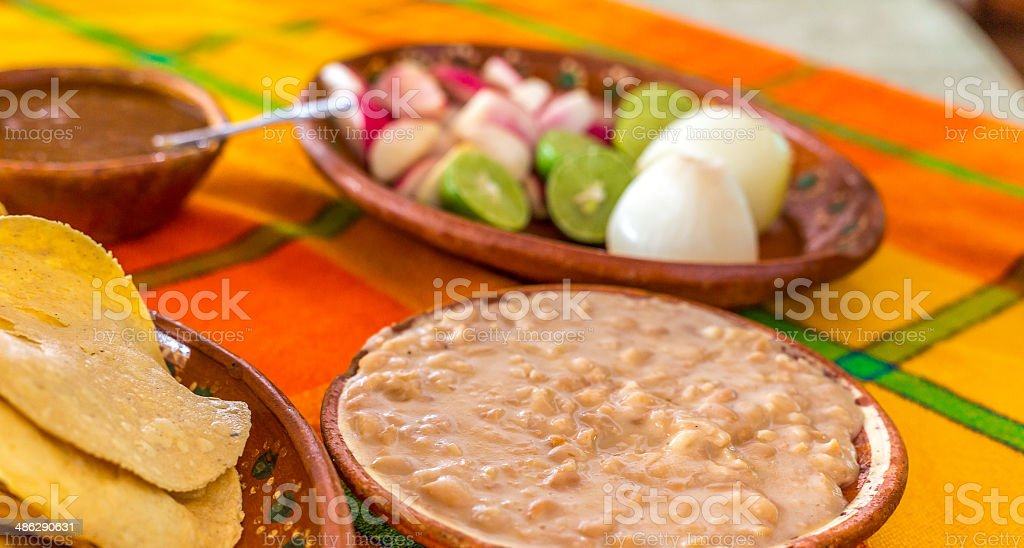 Autehtic Mexican Refried Beans stock photo