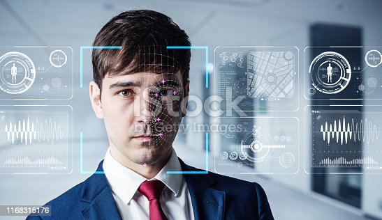 istock Authenitication by facial recognition concept. Biometrics. Security system. 1168315176