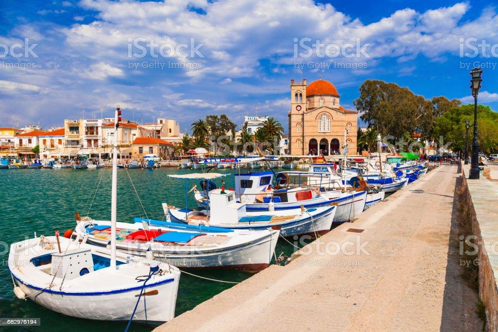 Authentic beautiful Greek islands -Aegina with traditional fishing boats, Saronics stock photo