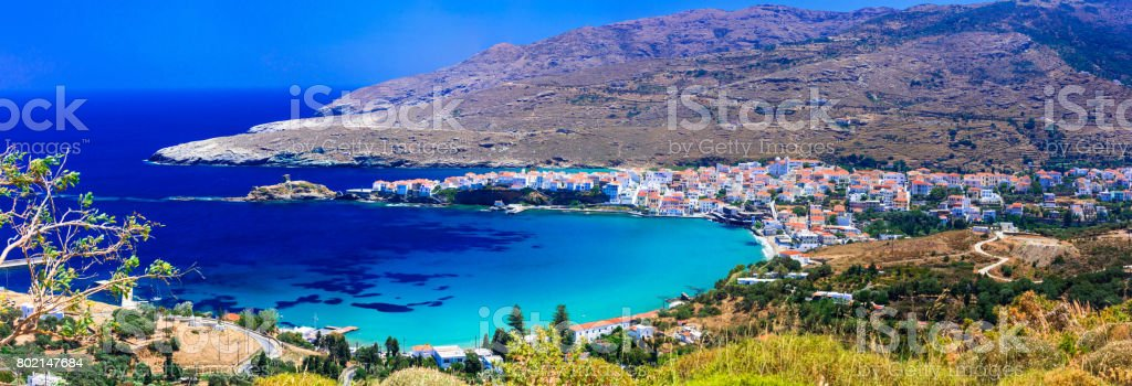 Authentic beautiful greek islands - Andros in Cyclades stock photo