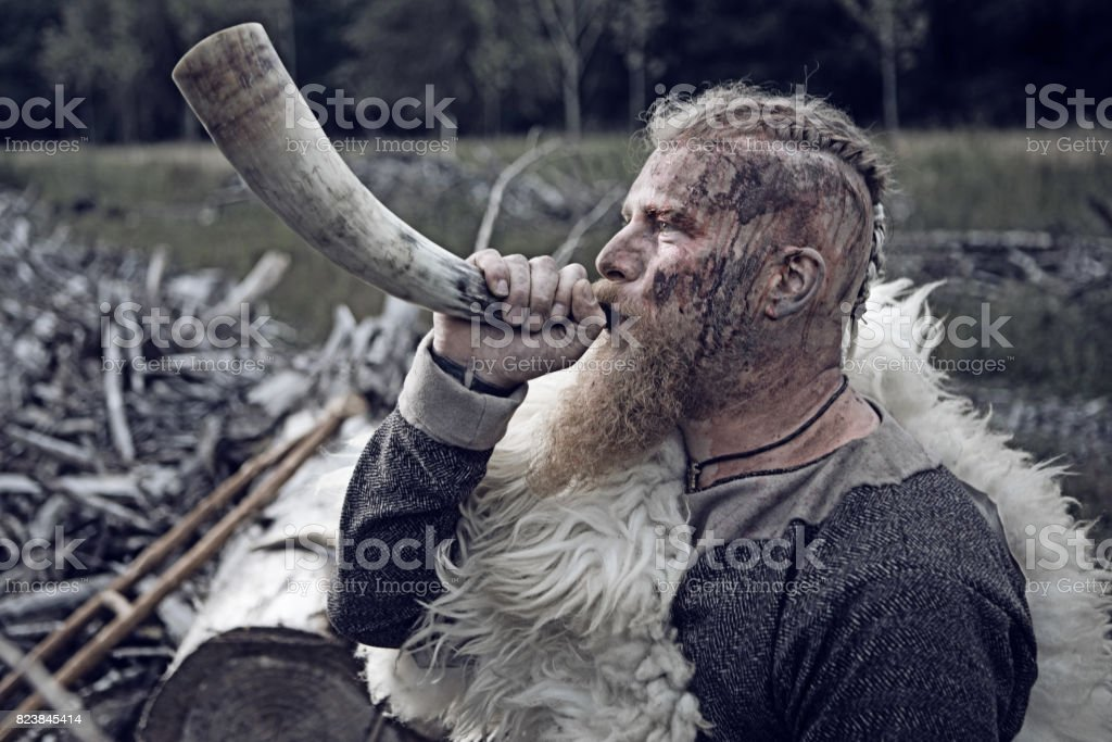 Authentic Caucasian Bearded Viking Warrior in Outdoor Forest Setting stock photo