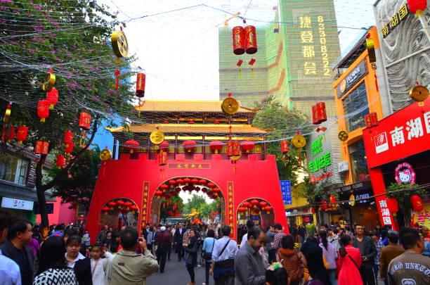 Scène de rue authentique nouvel an chinois. Guangzhou, Chine. 01.30.2014. - Photo