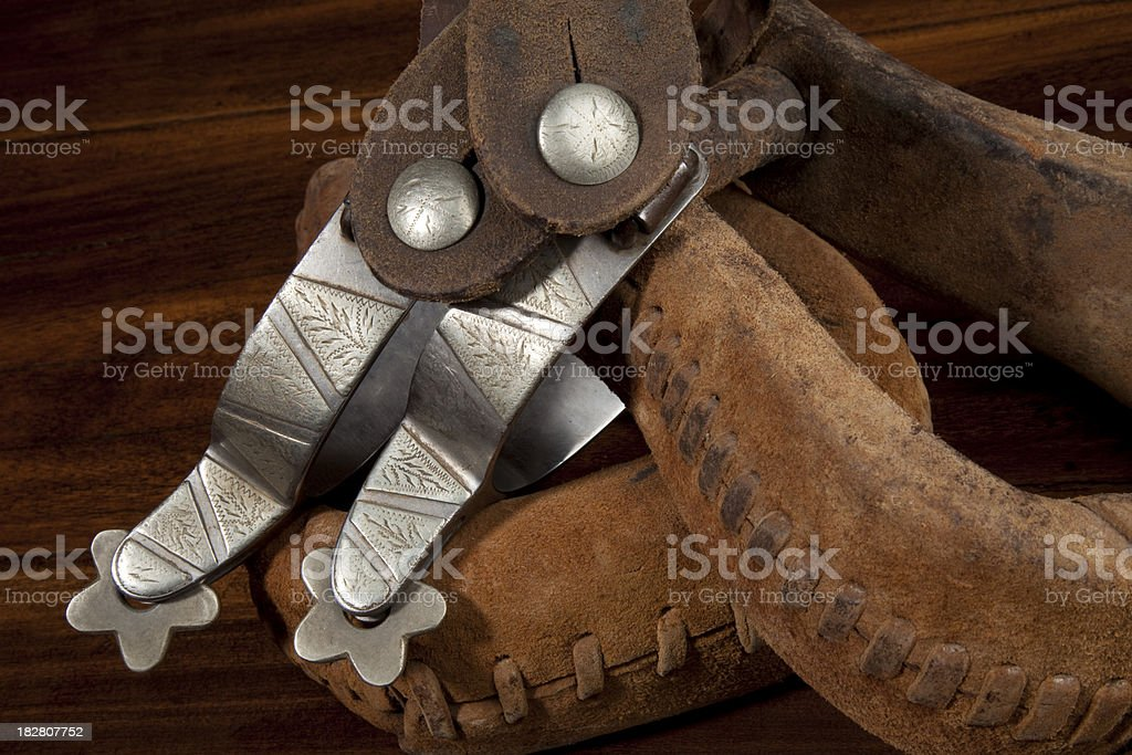 Authentic Cowboy Spurs and Stirrups royalty-free stock photo