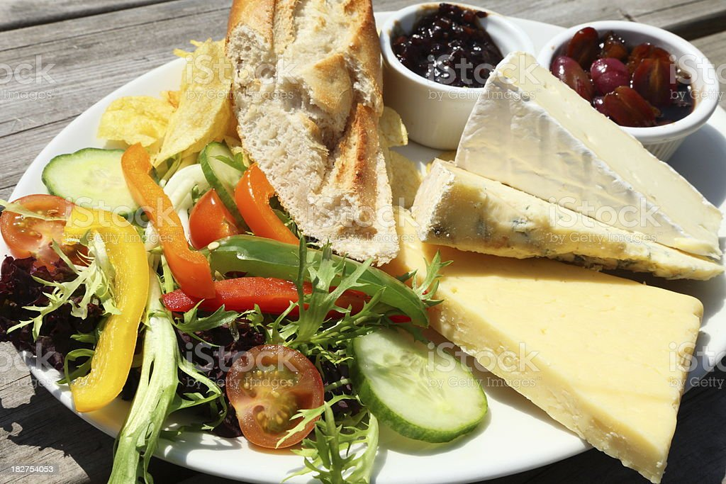 Authentic English pub served meal of a cheese Ploughman's Lunch stock photo