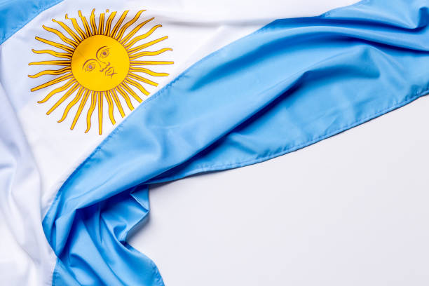 Authentic flag of the Argentina stock photo