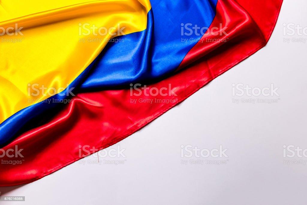 Bandera auténtica de la Colombia - foto de stock