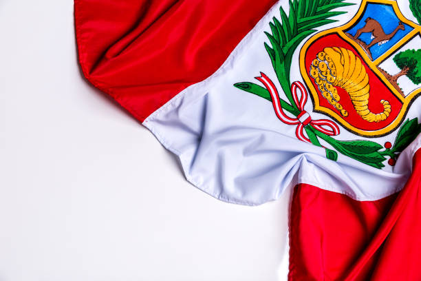 Authentic flag of the Peru stock photo