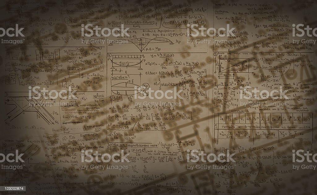 Authentic handwritten schemes and formulas background stock photo