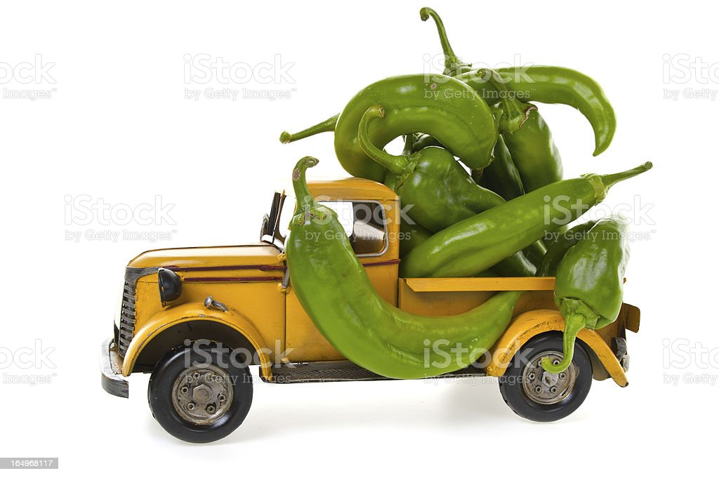 Authentic Hatch Green Chili in Rusty Old Toy Truck stock photo