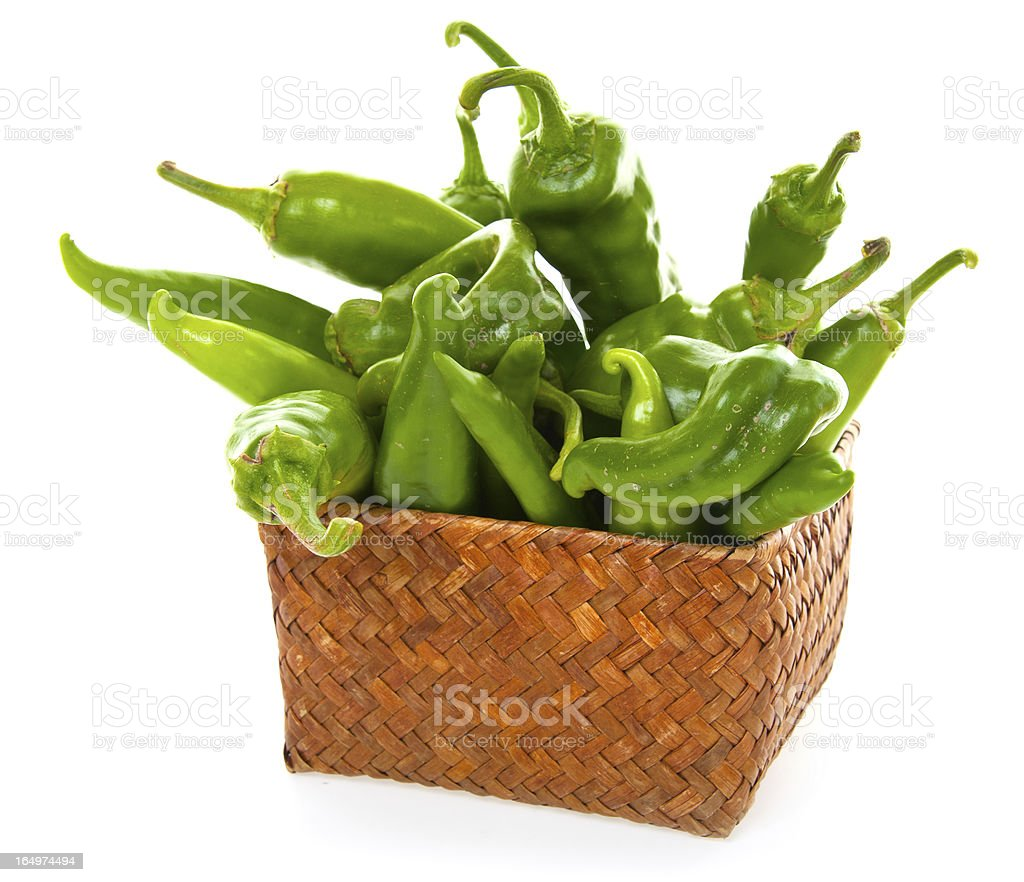 Authentic Hatch Green Chili Peppers stock photo