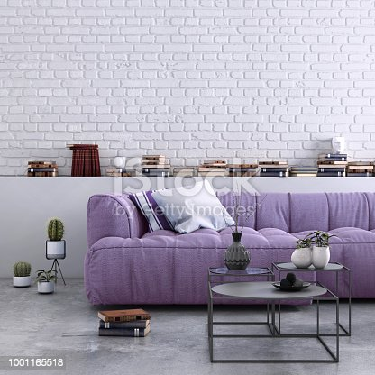 Home apartment interior, living room with large sofa, lots of decor and elements, plant, vase, coffee table, carpet, pastel colors with many elements around. lots of pillows, modern contemporary hipster style interior. copy space wall for designers